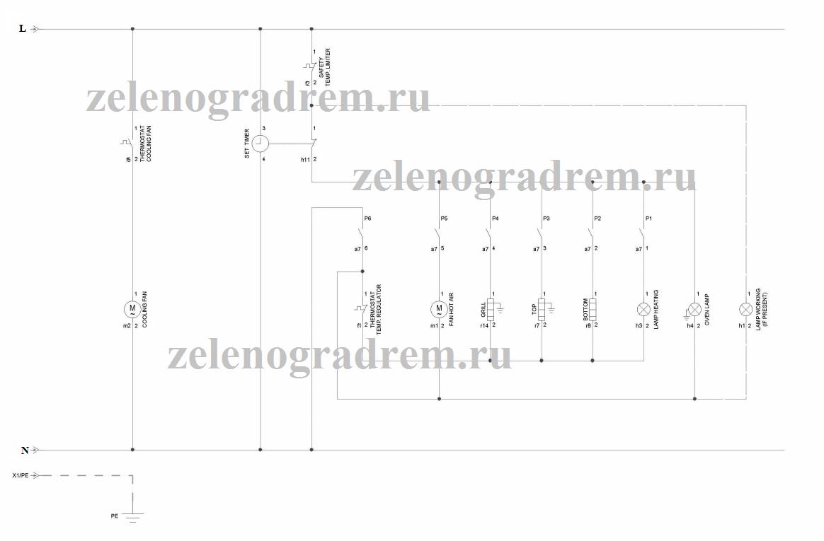 cхема духового шкафа с механическим термостатом
