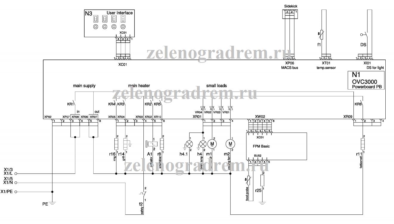 cхема духового шкафа с сенсорным управлением