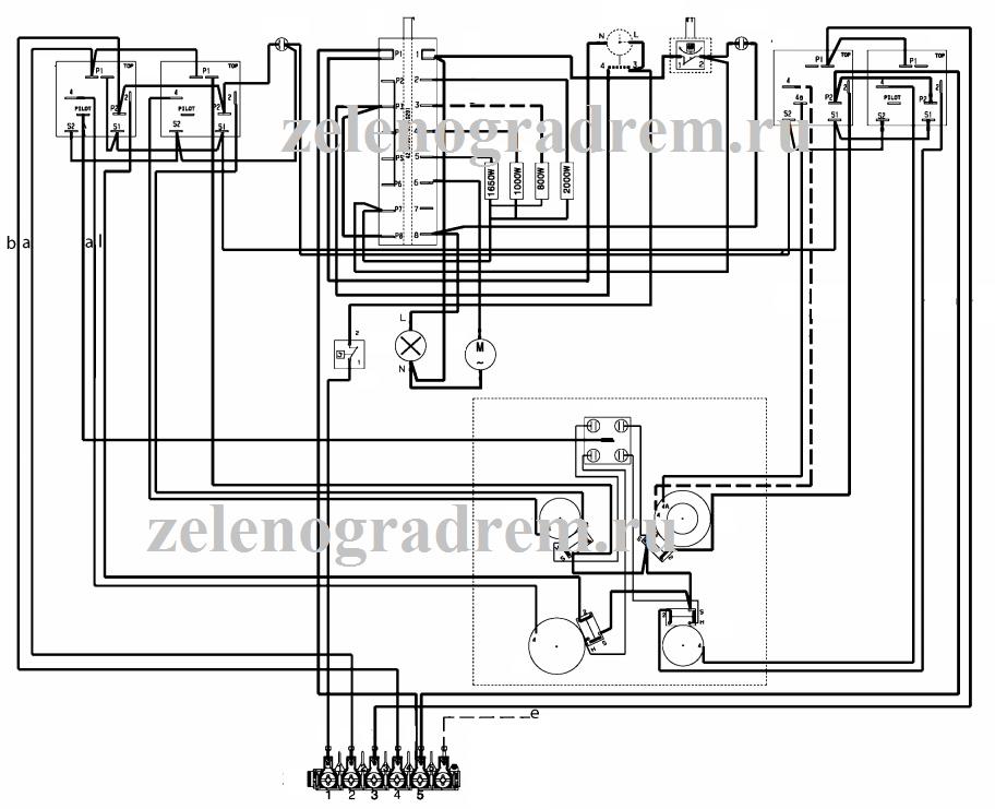cхема варочной панели с механическими переключателями