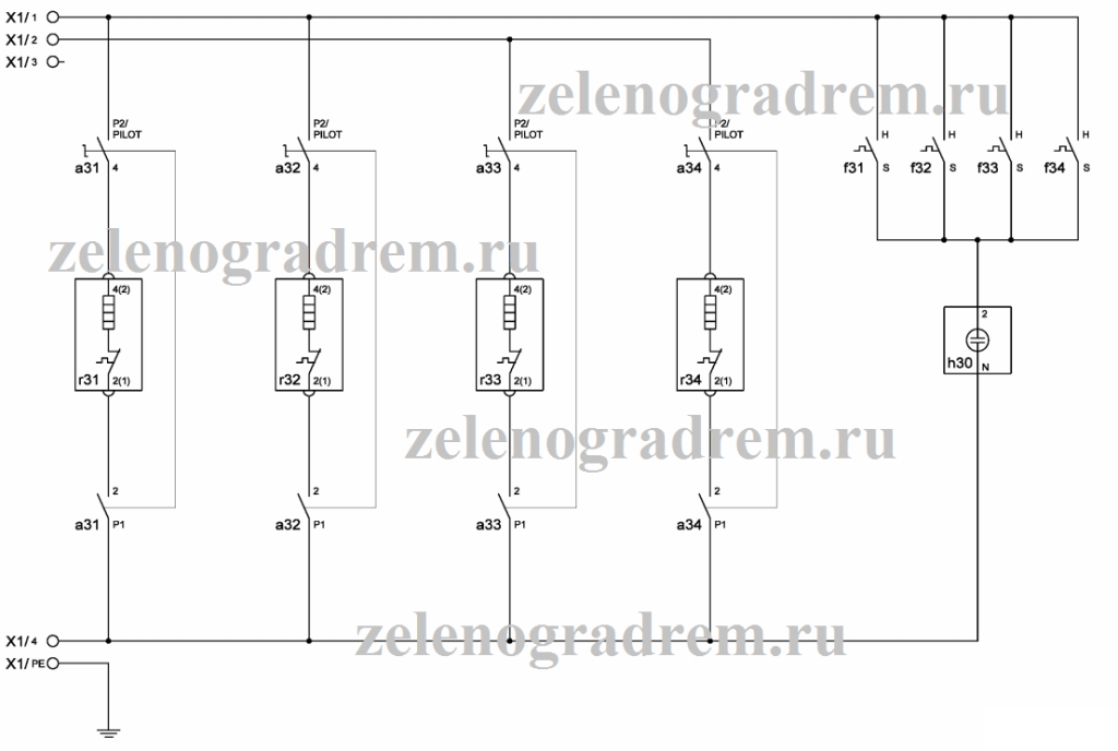 cхема варочной панели с механическими 4 переключателями