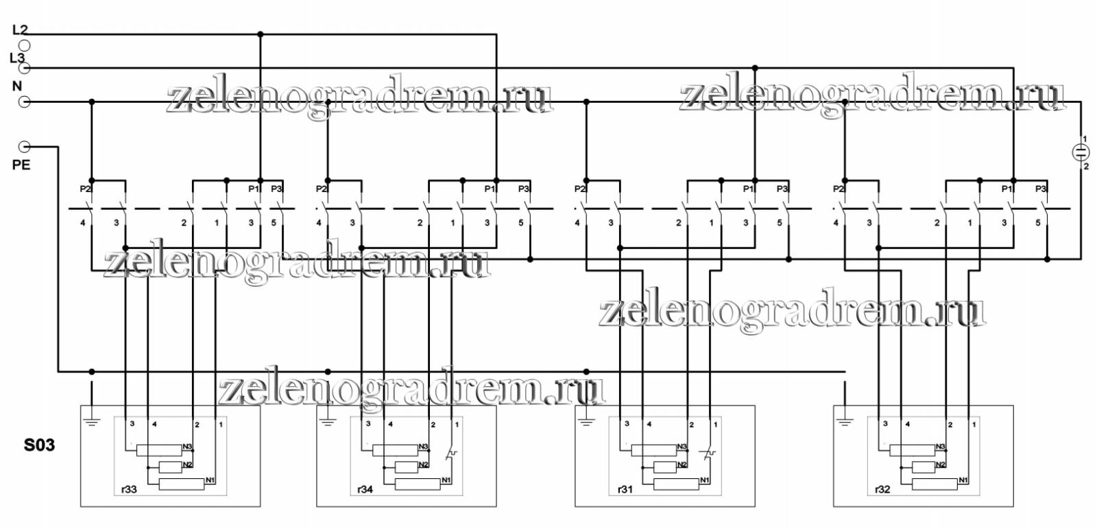 Принципиальная схема электроплиты с чугунными конфорками