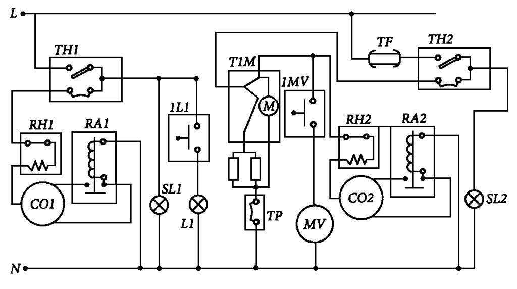 Электрическая схема холодильника-морозильника STINOL-102