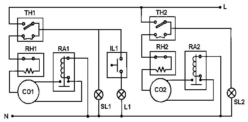 Электрическая схема холодильника-морозильника STINOL-103