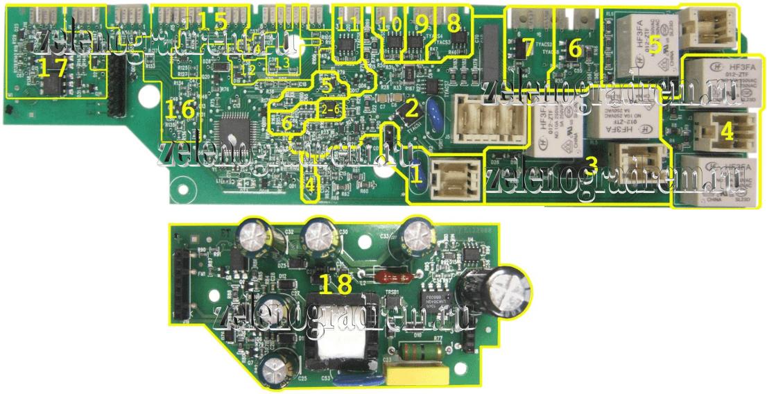 схема модуля управления стиральной машины аег